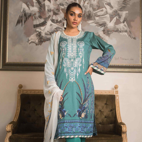 Malkah Embroidered Cambric Cotton 3 Piece Un-Stitched Suit - 03