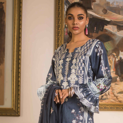 Malkah Embroidered Cambric Cotton 3 Piece Un-Stitched Suit - 05