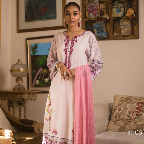 Malkah Embroidered Cambric Cotton 3 Piece Un-Stitched Suit - 06