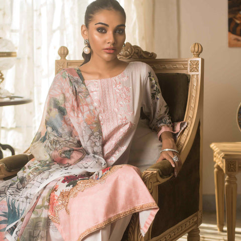 Malkah Embroidered Cambric Cotton 3 Piece Un-Stitched Suit - 07