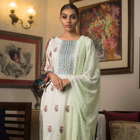 Malkah Embroidered Cambric Cotton 3 Piece Un-Stitched Suit - 08