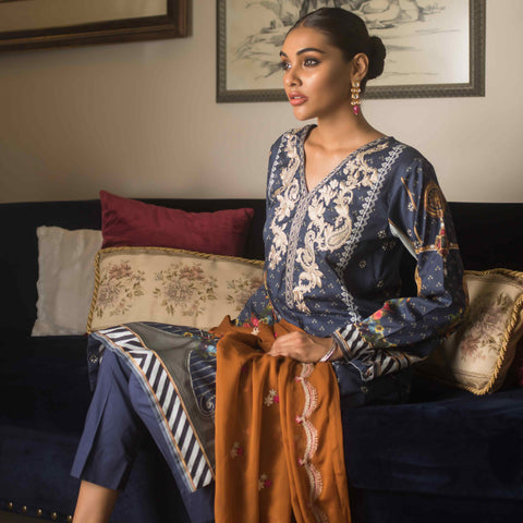 Malkah Embroidered Cambric Cotton 3 Piece Un-Stitched Suit - 09