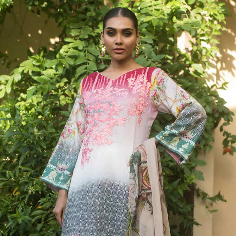 Malkah Embroidered Cambric Cotton 3 Piece Un-Stitched Suit - 11