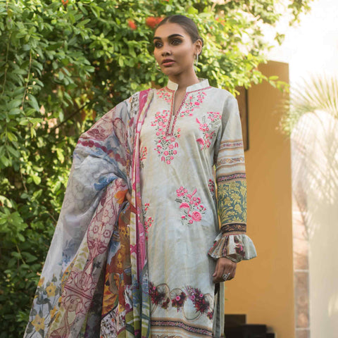 Malkah Embroidered Cambric Cotton 3 Piece Un-Stitched Suit - 12