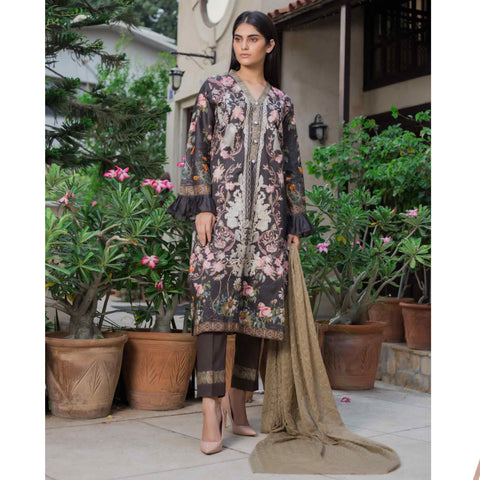 Malkah Embroidered Cambric Cotton 3 Piece Un-Stitched Suit - 13