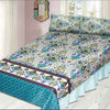 Printed Cotton Frill Double Bed Sheet - Multi