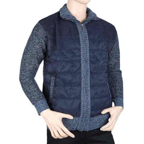 Men's Full Sleeves Quilted Jacket - Navy Blue