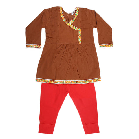 Girls Embroidered 2 Piece Suit - Brown