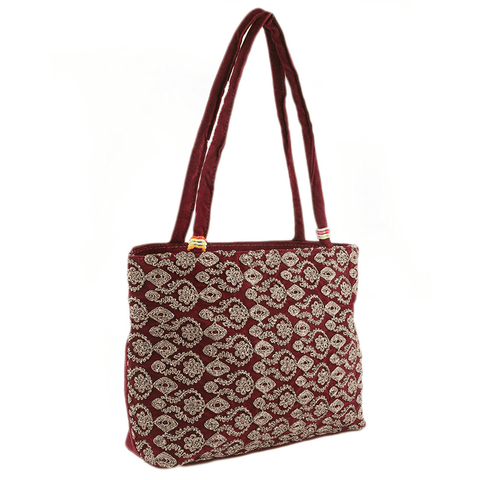Women's Embroidery Handbag - Maroon - test-store-for-chase-value