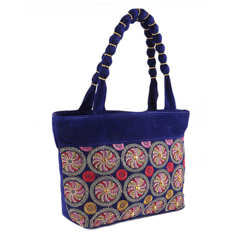 Women's Embroidery Handbag - Blue - test-store-for-chase-value