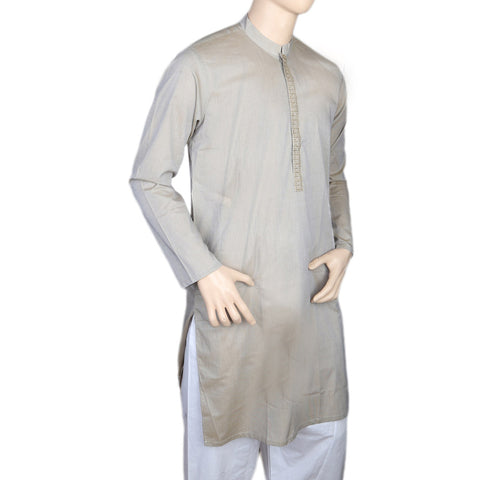 Eminent Embroidered Trim Fit Kurta For Men -Beige