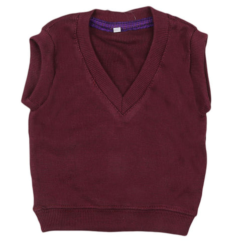 Newborn Boys Sleeveless Sweater - Maroon