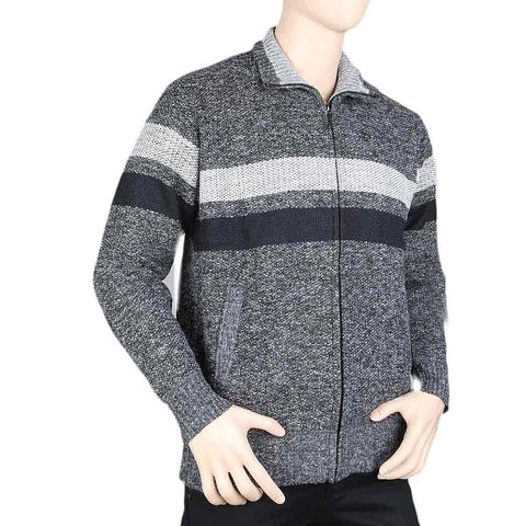 Men's Full Sleeves Zipper Upper - Dark Grey