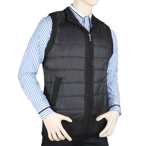 Men's Sleeveless Quilted Jacket - Black