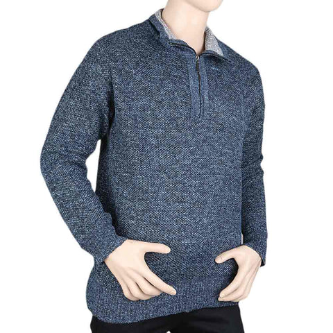 Men's Full Sleeves Sweater - Steel Blue