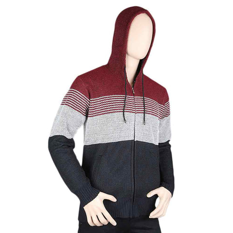 Men's Full Sleeves Hooded Zipper Upper - Maroon