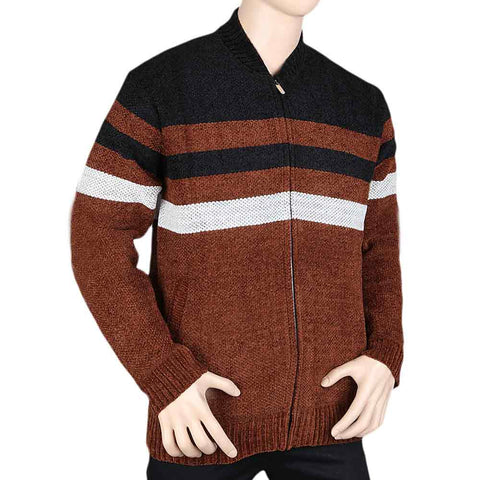 Men's Full Sleeves Zipper Upper - Brown