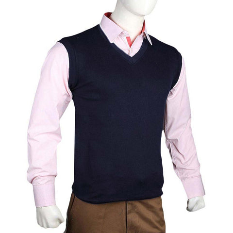 Men's Sleeveless Sweater - Navy Blue