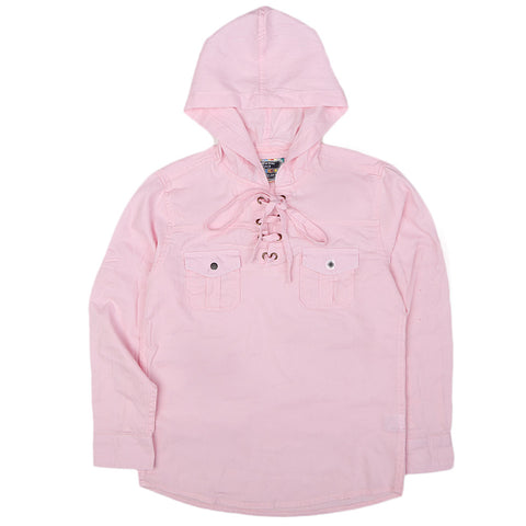 Boys Full Sleeves Hooded Shirt - Pink