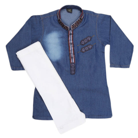 Boys Denim Kurta Shalwar - Blue