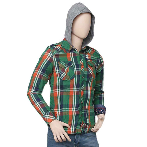 Men's Casual Hooded Shirt - Green