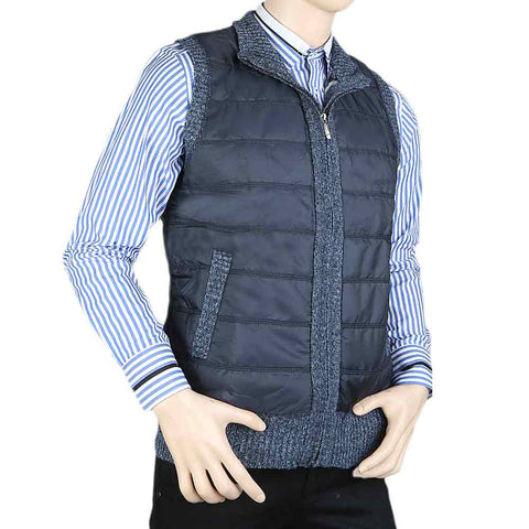 Men's Sleeveless Quilted Jacket - Navy Blue