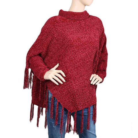 Eminent Poncho For Women - Maroon