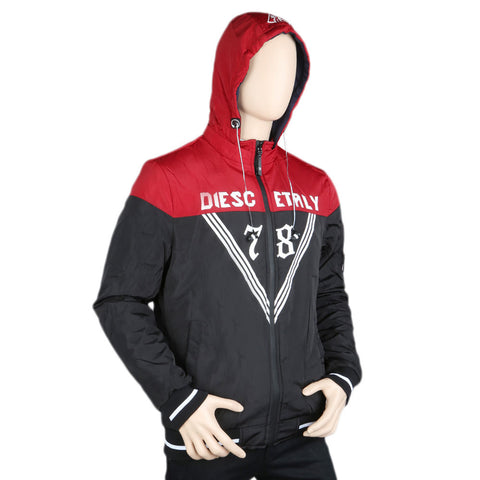 Men's Full Sleeves Double Side Hooded Jacket - Black