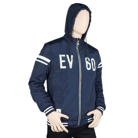Men's Full Sleeves Double Side Hooded Jacket - Navy Blue