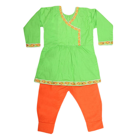 Girls Embroidered 2 Piece Suit - Green