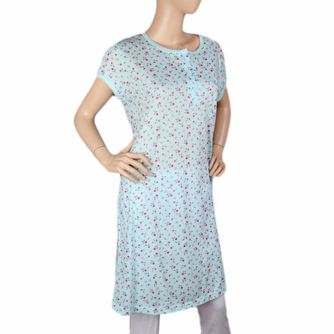 Women's Long Nighty - Cyan