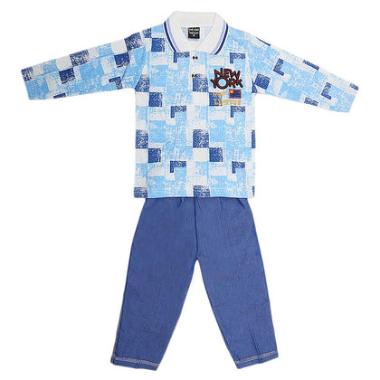 Boys Full Sleeves 2 Piece Suit - Blue