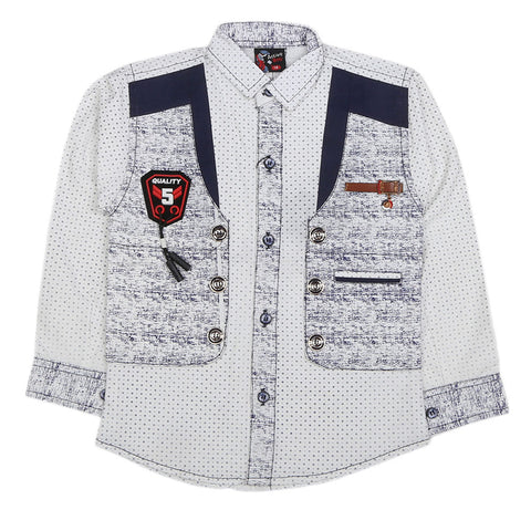 Boys Full Sleeves Casual Shirt - White
