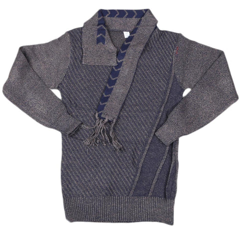 Boys Full Sleeves Sweater - Brown
