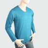 Men's V Neck Full Sleeves T-Shirt - Aqua