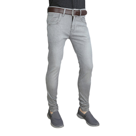 Men's Casual Denim Pant - Light Grey