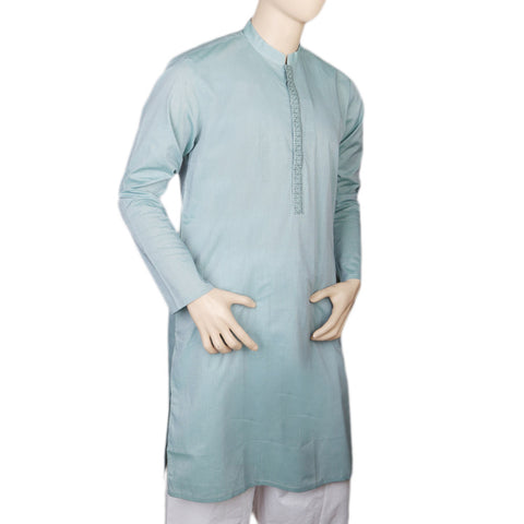 Eminent Embroidered Trim Fit Kurta For Men - Green