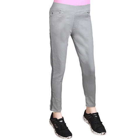 Women's Striped Jegging - Light Grey