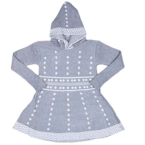 Girls Full Sleeves Sweater - Grey