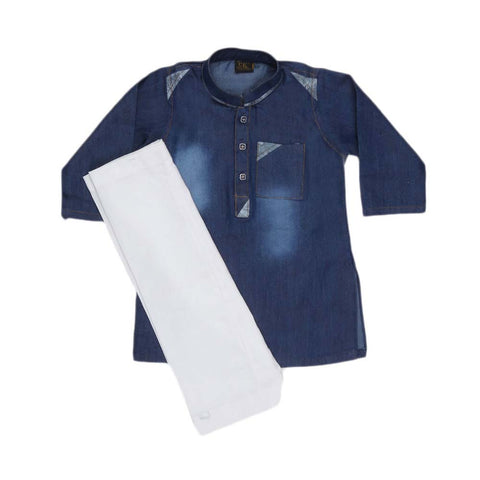 Newborn Denim Kurta Shalwar - Blue