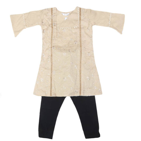 Girls Embroidered Cotton Suit 2 Pcs - Fawn