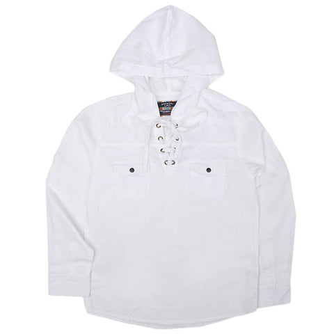 Boys Full Sleeves Hooded Shirt - White