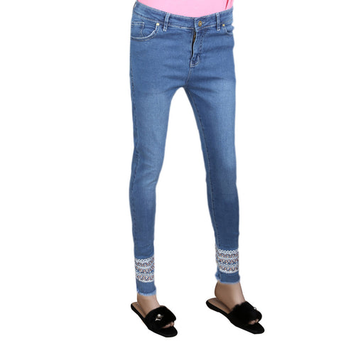 Women's Embroidery Denim Pant - Blue