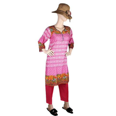 Women's Printed Lawn 2 Pcs Stitched Suit - Pink