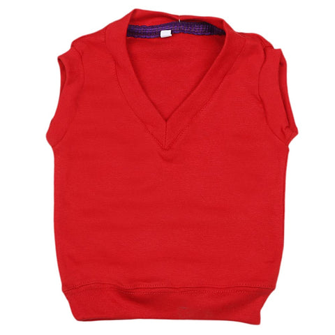 Newborn Boys Sleeveless Sweater - Red