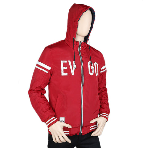 Men's Full Sleeves Double Side Hooded Jacket - Red