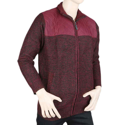 Men's Full Sleeves Zipper Upper - Maroon