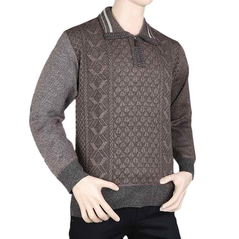 Men's Full Sleeves Sweater - Brown