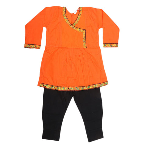 Girls Embroidered 2 Piece Suit - Orange