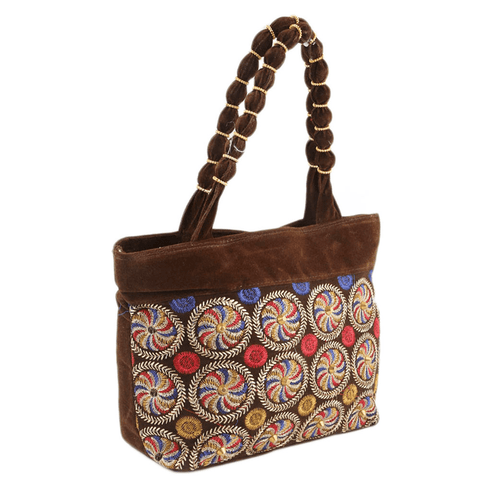 Women's Embroidery Handbag - Dark Brown - test-store-for-chase-value